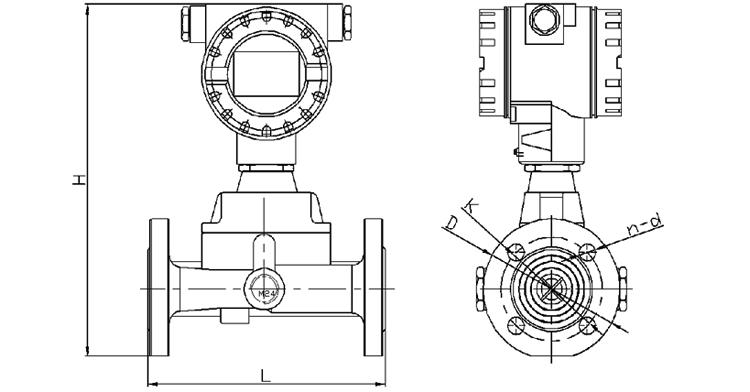 旋進旋渦氣體流量計產品外形尺寸